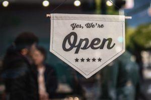 open for business sign - small business risk management - Ledgersonline
