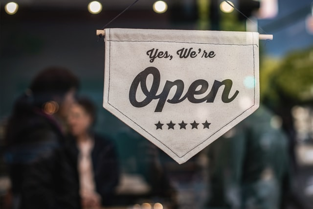 open for business sign - small business risk management - Ledgersonline